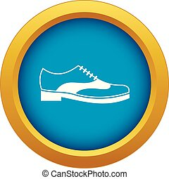 Men shoe with lace icon blue vector isolated