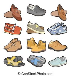Men shoes boots types vector flat isolated icons set - Men...