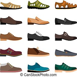 Men shoes collection - Men shoes isolated on white...