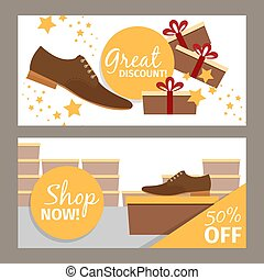 Men shoes horizontal banners for advertising. Vector fashion...