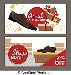Men shoes horizontal flyers for advertising. Vector fashion...