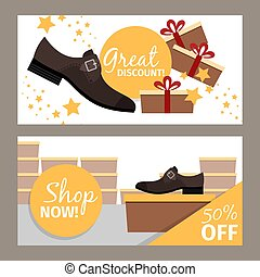 Men shoes horizontal flyers for store
