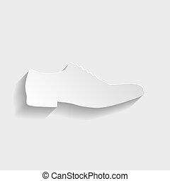 Men Shoes icon. Paper style icon with shadow on gray