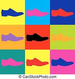 Men Shoes icon. Pop-art style colorful icons set.