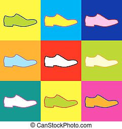 Men Shoes icon. Pop-art style colorful icons set with 3...