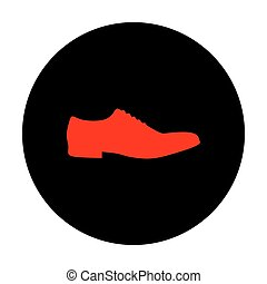 Men Shoes icon. Red vector icon on black flat circle.