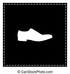 Men Shoes sign. Black patch on white background. Isolated.