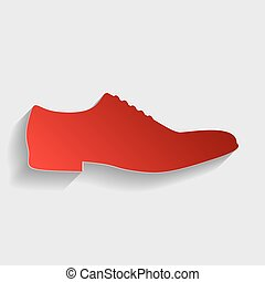 Men Shoes sign. Red paper style icon with shadow on gray.