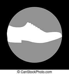 Men Shoes sign. White icon in gray circle at black...
