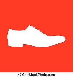 Men Shoes sign. White icon on red background.