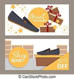 Men shoes store flyers - Men shoes horizontal flyers. Vector...