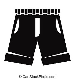 Men shorts in black simple silhouette style icons vector illustration for design and web