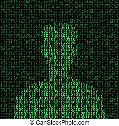 men silhouette with binary code. vector illustration - eps 8