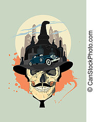 Men skull against city, bootlegger design - Men skull ...