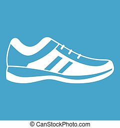 Men sneakers icon white isolated on blue background vector...