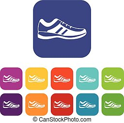 Men sneakers icons set