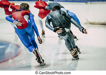 speed skaters in training