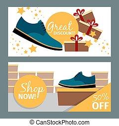Men summer blue shoe store flyers