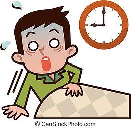 Men surprised to oversleep  - Vector illustration.