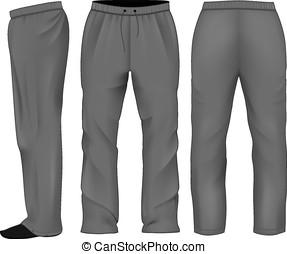 Men sweatpants black. Vector illustration