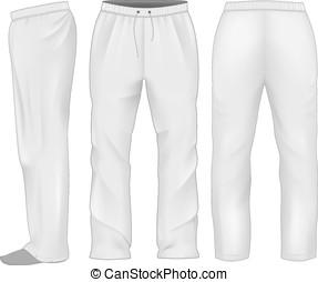 Men sweatpants white. Vector illustration