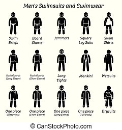 Men swimsuits and swimwear.