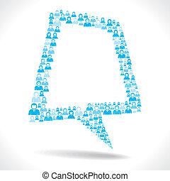 men team make message bubble - blue men design message...