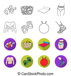 Men torso, gymnastic gloves, jumping ball, sneakers. Fitnes set collection icons in outline, flat style bitmap symbol stock illustration web.