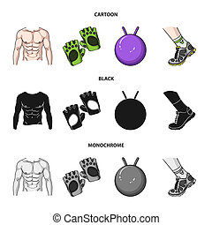 Men torso, gymnastic gloves, jumping ball, sneakers. Fitnes set collection icons in cartoon,black,monochrome style bitmap symbol stock illustration web.