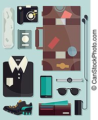 Men Travel Elements Illustration