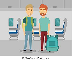 men travelers in the airplane
