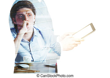 Men using tablet and thinking