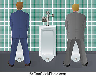 Men Using Urinal - Two men standing in a restroom