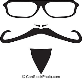 Men vector face with long mustache