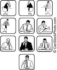 men., vektor, silhouettes, kontor, tio