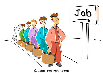 men waiting for job - illustration of men waiting for job on...
