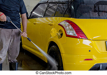 Men wash car wash