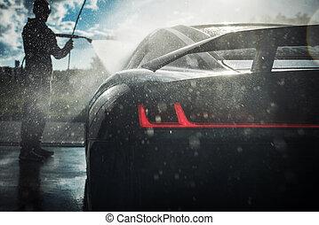 Men Washing His Exotic Car