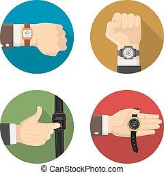 Men Watches 4 Round Flat Icons - Men watches types 4 flat...