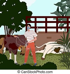 Men wear mask holding cow near cowshed for sacrifice ied al adha with modern flat cartoon style vector design.
