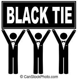 men wearing tuxedo holding sign saying black tie - black tie...