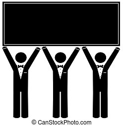 men wearing tuxedo holding up blank sign
