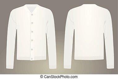 Men white cardigan