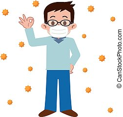 Men who of hay fever prevention - Vector...