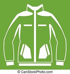 Men winter jacket icon green - Men winter jacket icon white...