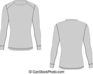 Men winter thermal underwear. Isolated male sport rash guard apparel.