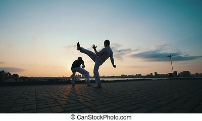 Men with a sporty physique dancing capoeira outdoors, on the...