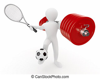 Men with barbell, racket and ball. 3d