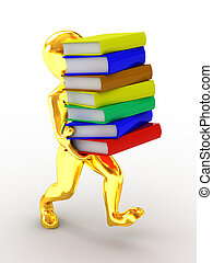 Men with books. 3d