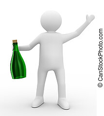Men with bottle on white background. Isolated 3D image